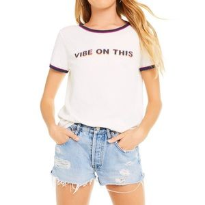 WILDFOX Vibe on This Double White Ringer Tee Large